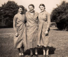 Kitty left, Lil centre and Nellie right at Halland Farm ready to get the cows in for milking. September 1940.